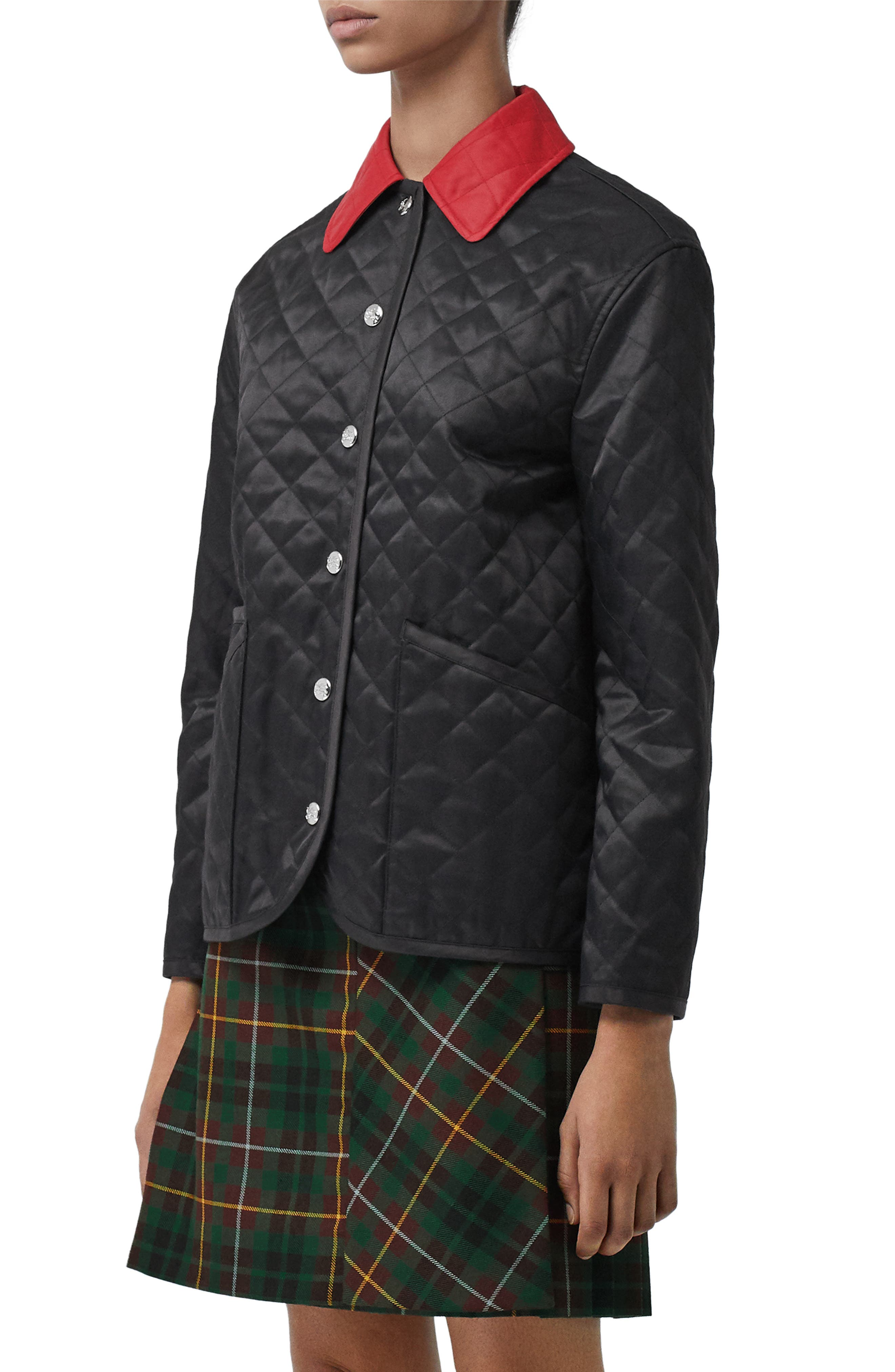 ,                             Dranefield Diamond Quilted Jacket,                             Alternate thumbnail 3, color,                             BLACK