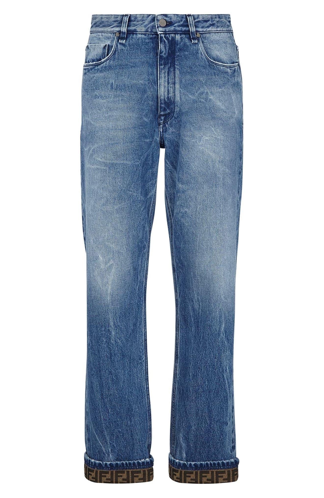 Men's Fendi Ff Turnup Straight Leg Jeans,  34 - Blue
