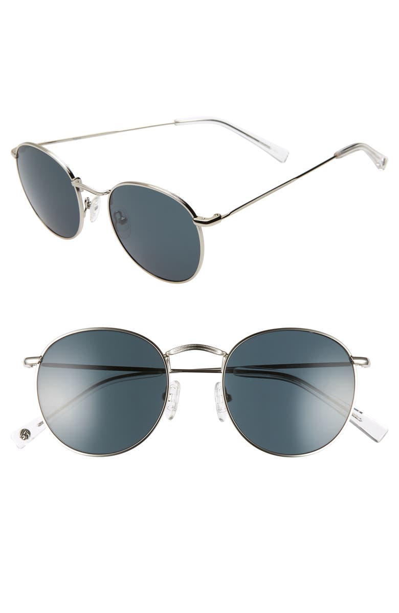 BRIGHTSIDE Charlie 50mm Round Sunglasses, Main, color, SILVER/ GREY