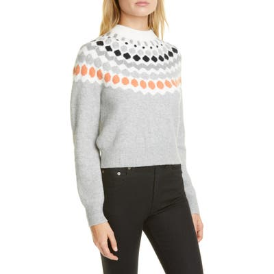 Club Monaco Fair Isle Mock Neck Wool Blend Sweater, Grey