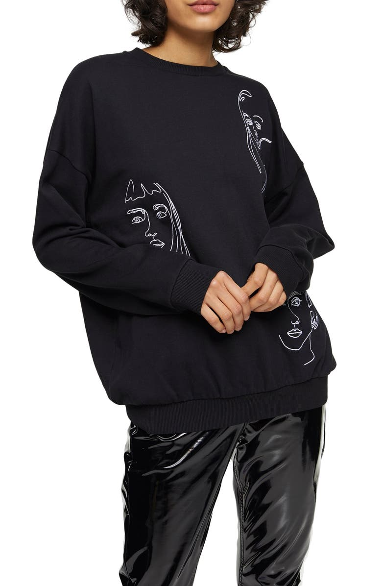 TOPSHOP Sketch Face Sweatshirt, Main, color, BLACK
