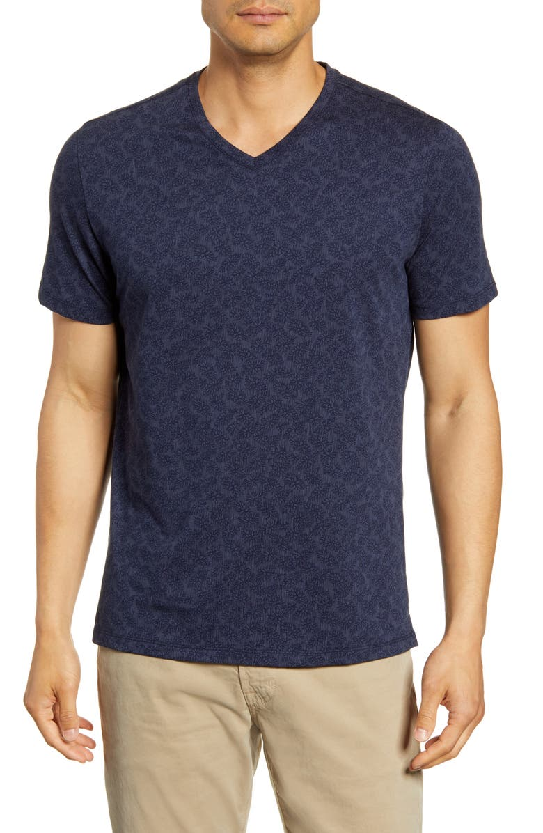 ROBERT BARAKETT North Hatley Leaf Print V-Neck T-Shirt, Main, color, SPACE BLUE