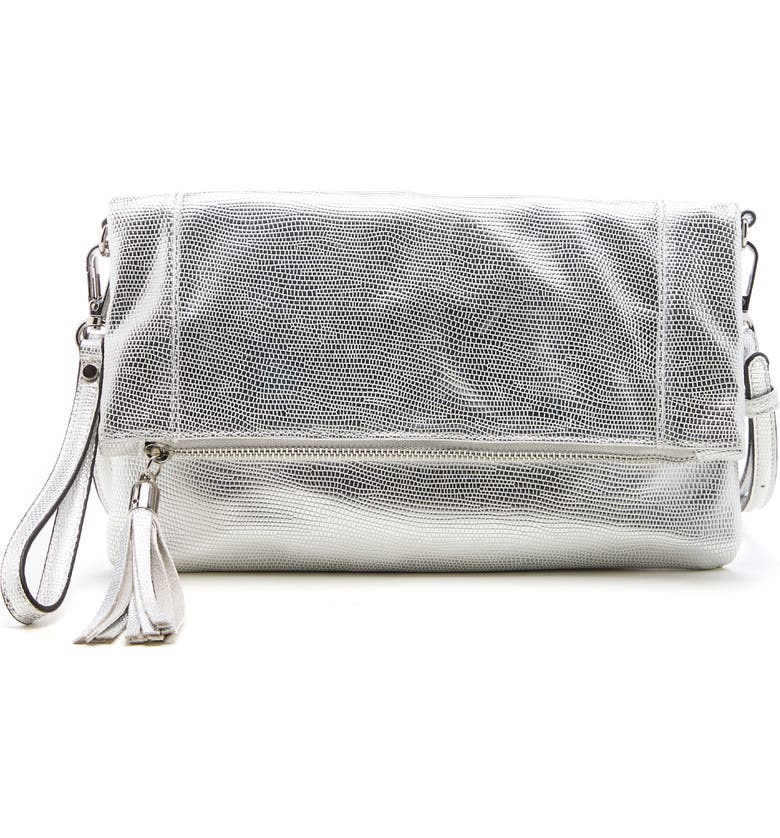SOLE SOCIETY Convertible Faux Leather Clutch, Main, color, SILVER