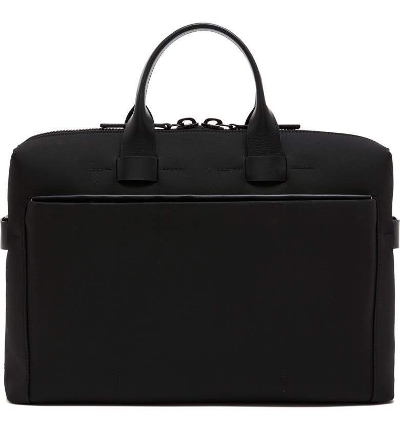 TROUBADOUR Nylon Briefcase, Main, color, BLACK NYLON/ BLACK LEATHER