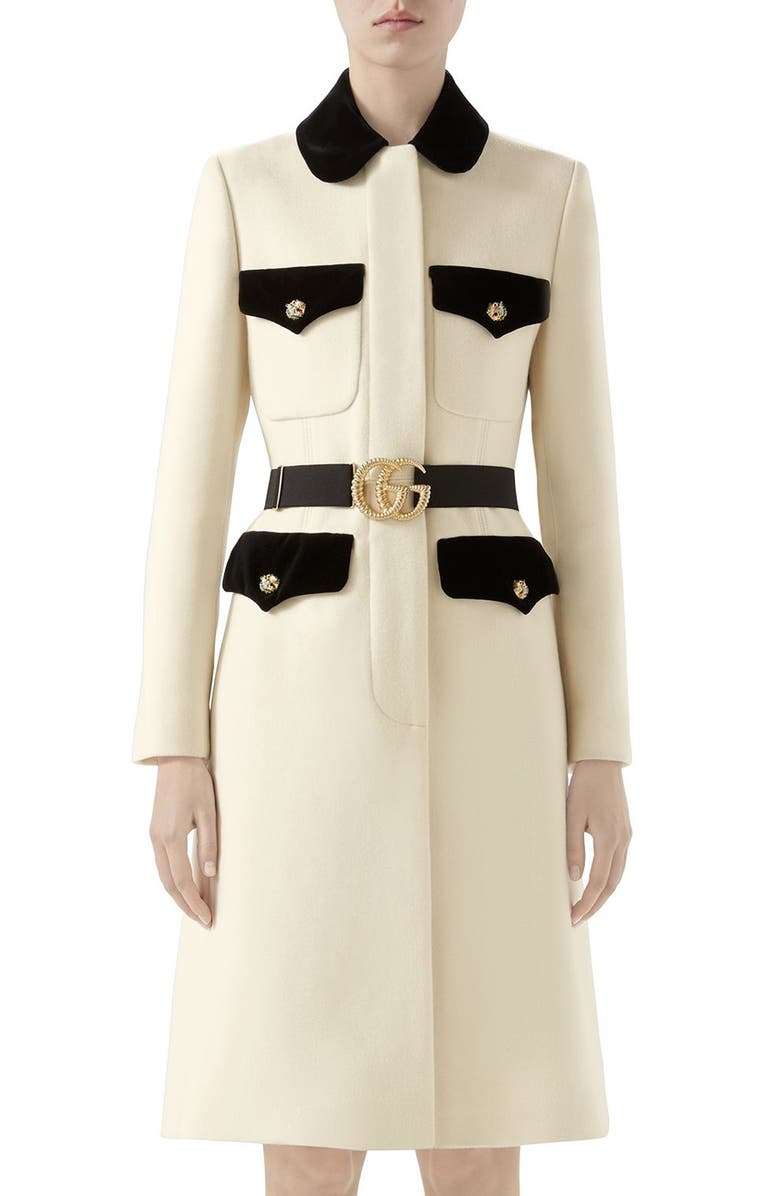 GUCCI Velvet Trim Belted Wool Coat, Main, color, GARDENIA/ MIX