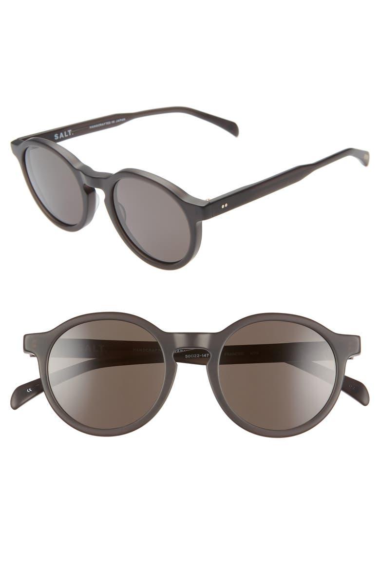 SALT. Francine 50mm Polarized Round Sunglasses, Main, color, MATTE DARK GREY