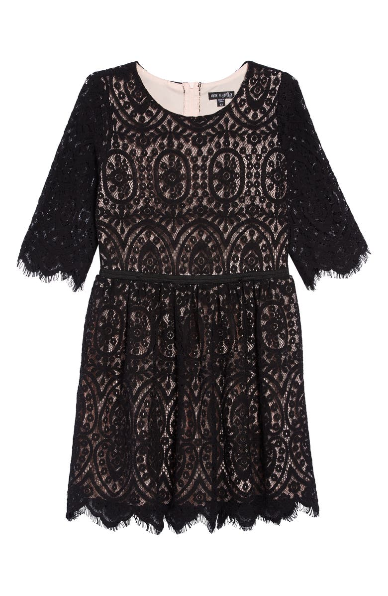 AVA & YELLY Embroidered Lace Dress, Main, color, BLACK BLUSH