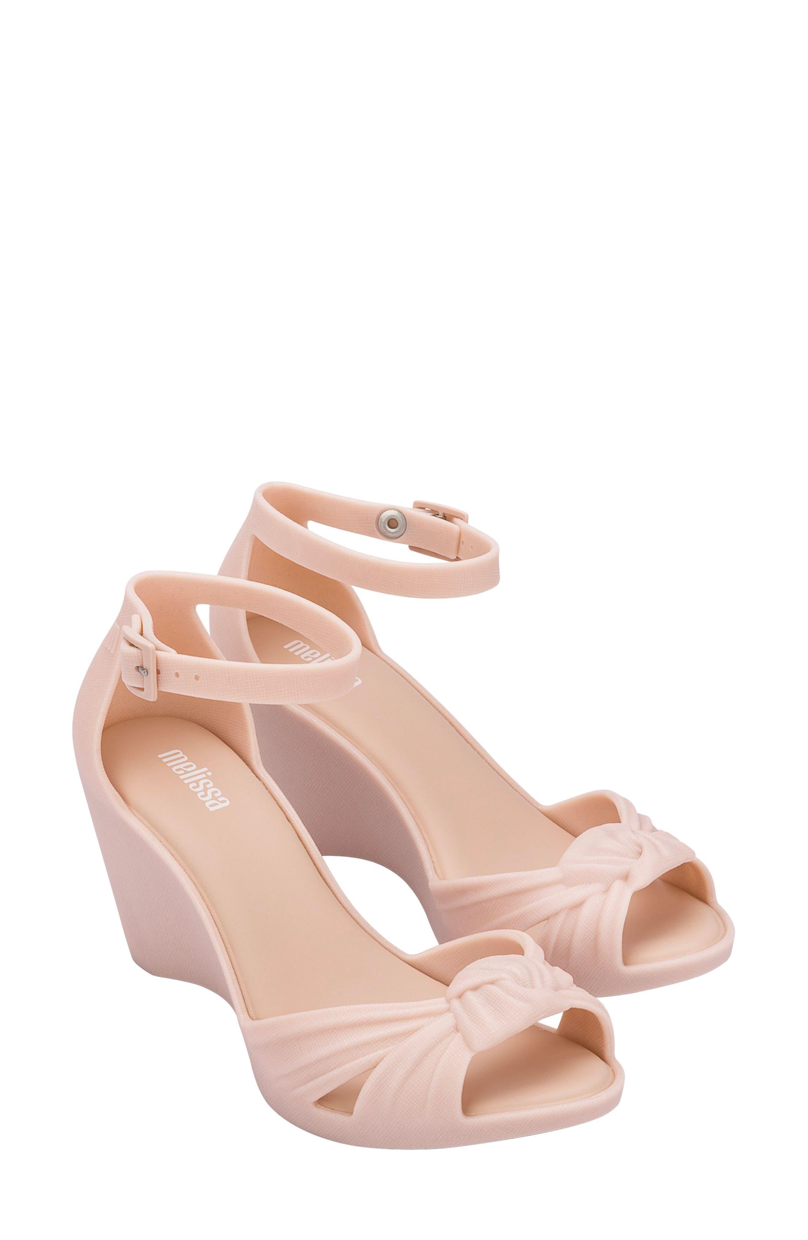 Velvet Ankle Strap Wedge Sandal