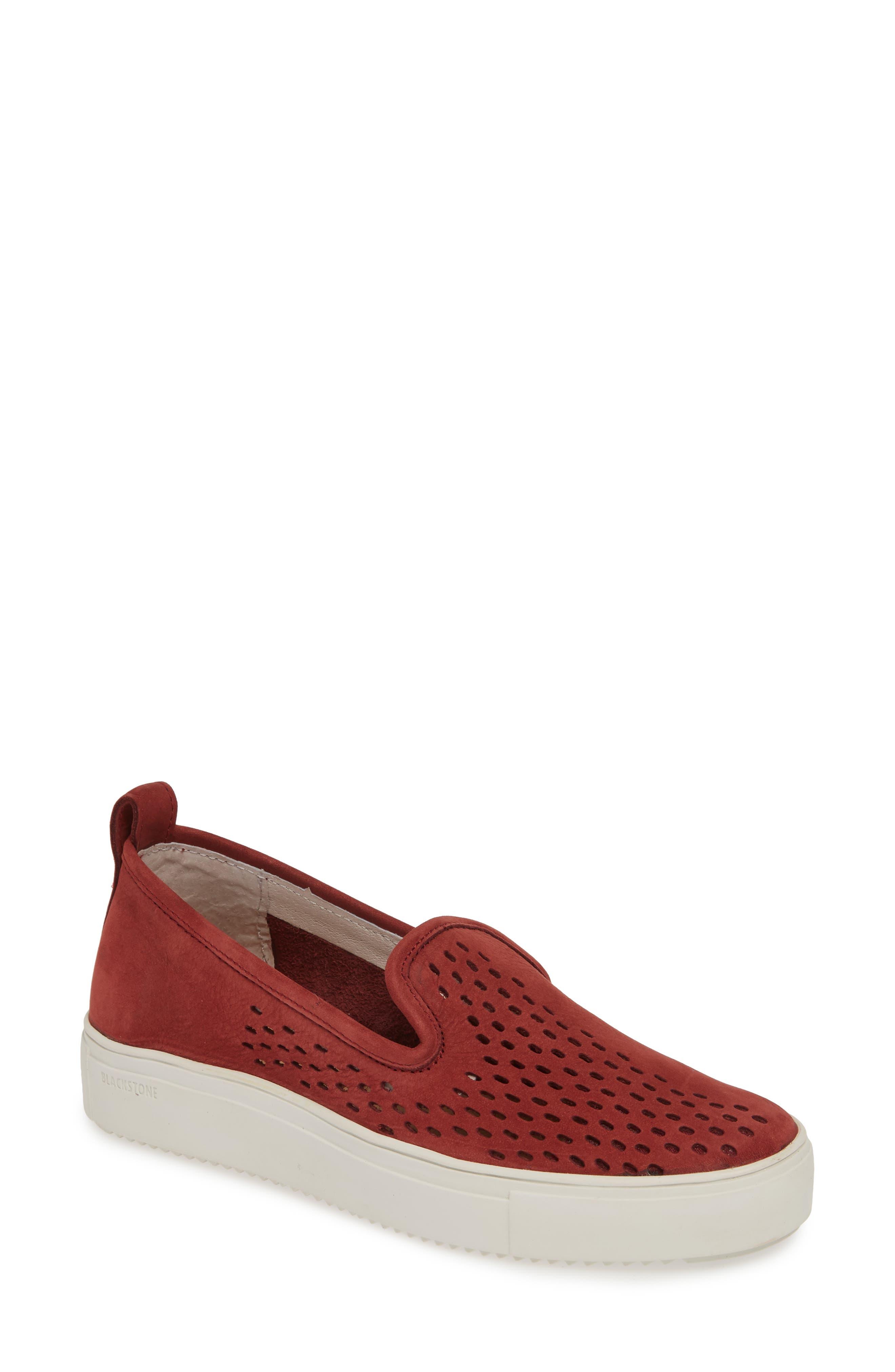 Blackstone Rl68 Perforated Slip-On Sneaker, Burgundy