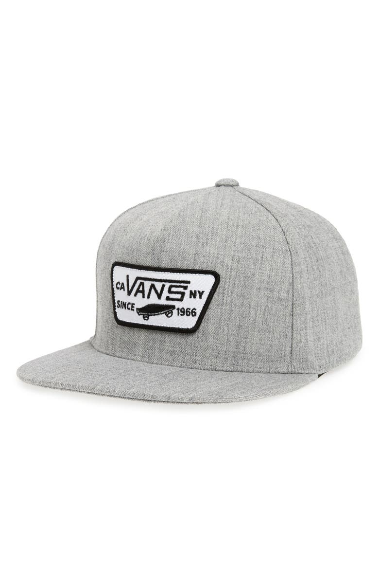 VANS 'Full Patch' Snapback Hat, Main, color, HEATHER GREY