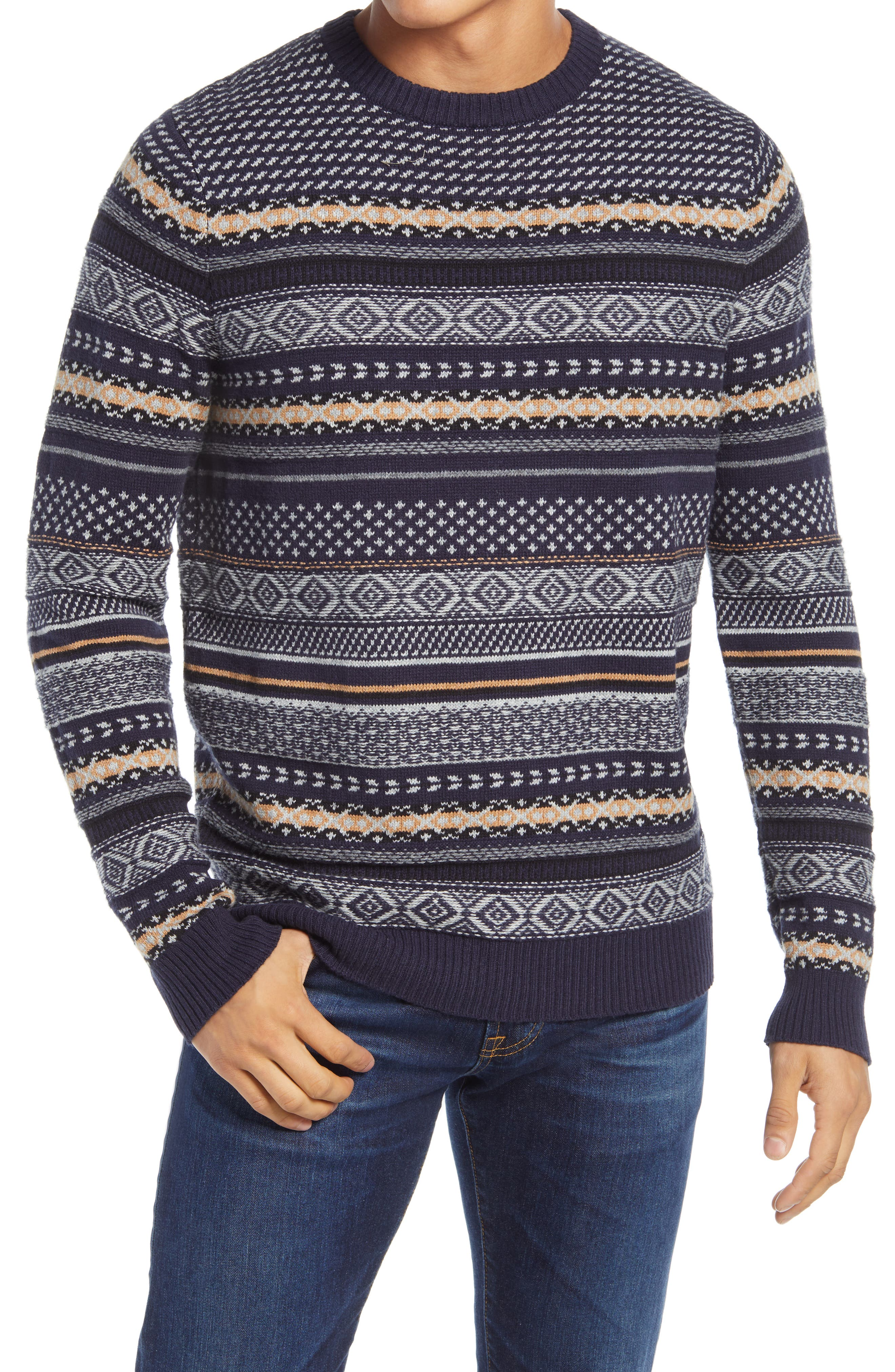 Men's Vintage Sweaters History Mens 1901 Fair Isle Crewneck Sweater $55.65 AT vintagedancer.com