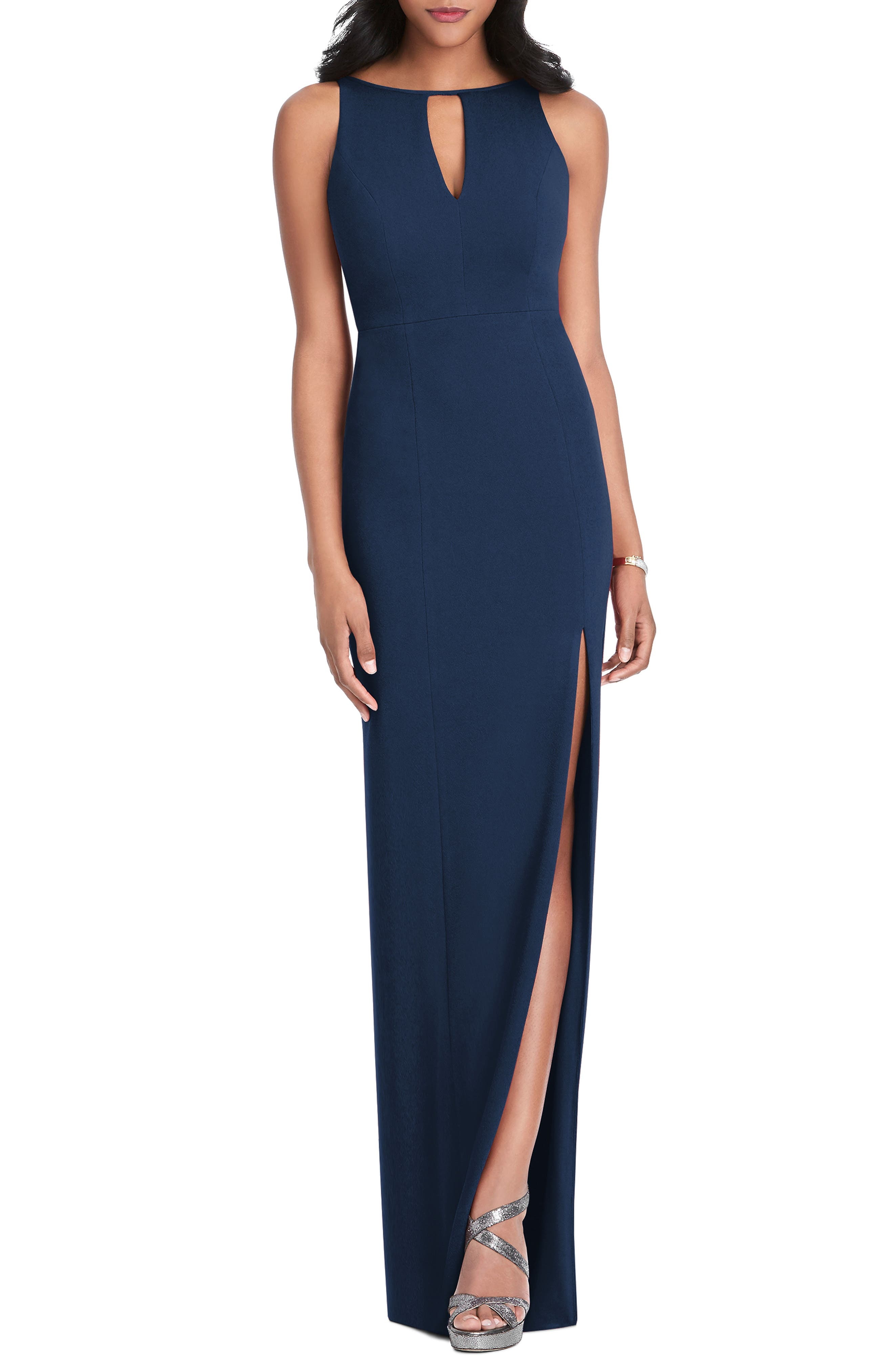 After Six Stretch Crepe Gown, Blue