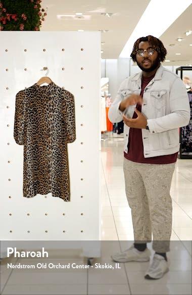 Leopard Print Puff Sleeve Georgette Minidress, sales video thumbnail