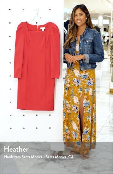 Square Neck Long Sleeve Ponte Dress, sales video thumbnail