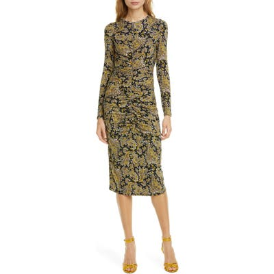 Joie Aja Long Sleeve Paisley Dress, Yellow