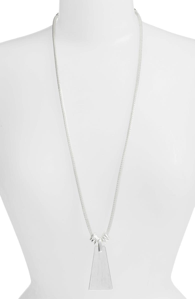 KENDRA SCOTT Keerti Long Pendant Necklace, Main, color, SILVER