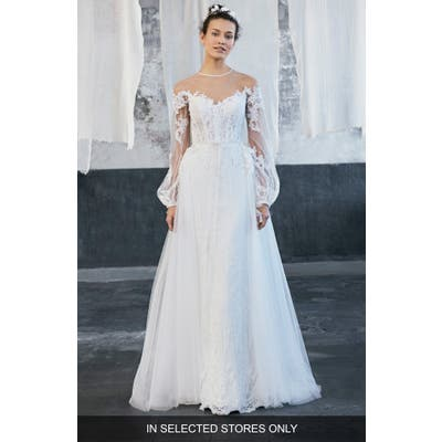Inmaculada Garcia Tecate Puff Sleeve Tulle Ballgown With Overskirt, Size IN STORE ONLY - Ivory