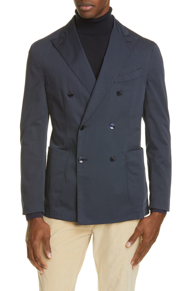 BOGLIOLI Trim Fit Double Breasted Solid Stretch Cotton Sport Coat, Main, color, NAVY