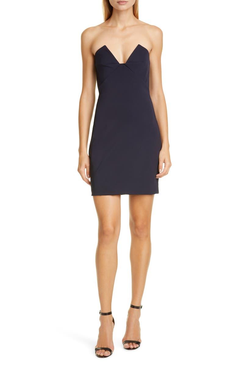 CUSHNIE Bustier Strapless Minidress, Main, color, NAVY