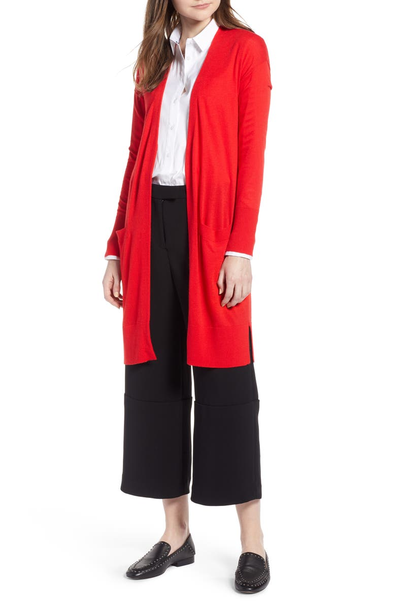 HALOGEN<SUP>®</SUP> Open Front Pocket Cardigan, Main, color, RED CHINOISE