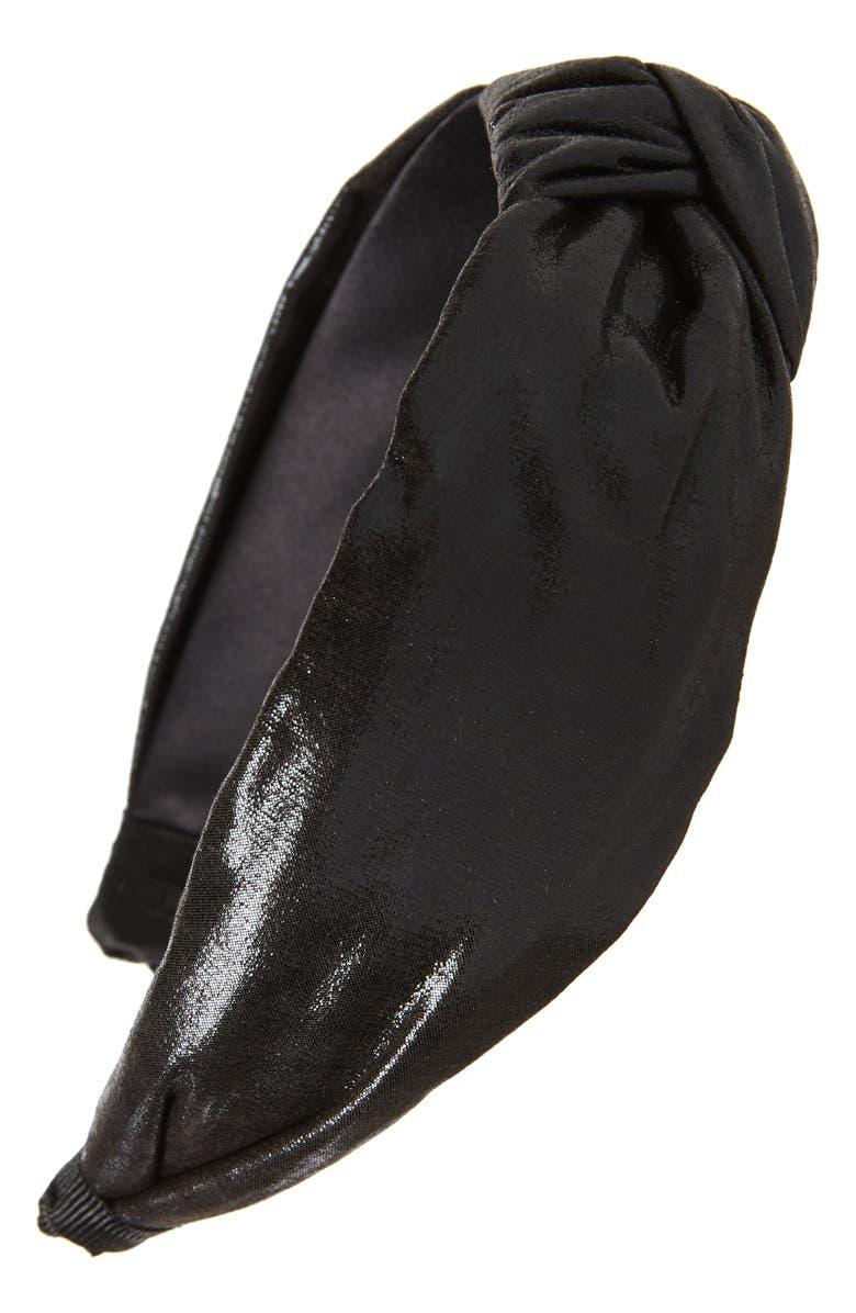 TASHA Shiny Knot Headband, Main, color, BLACK