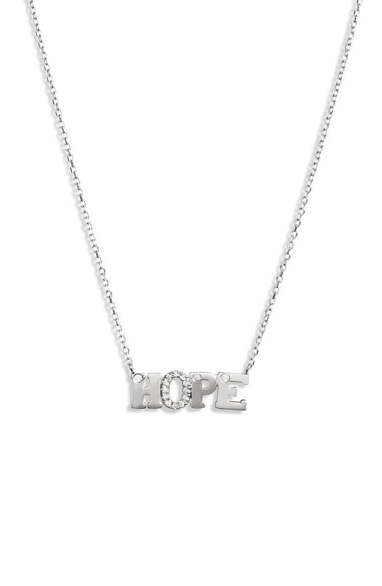 ANZIE Love Letter Hope Pendant Necklace, Main, color, SILVER/ SAPPHIRE