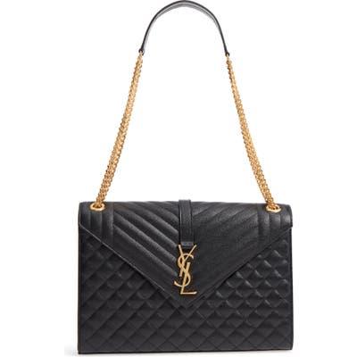 Saint Laurent Large Envelope Calfskin Shoulder Bag - Black