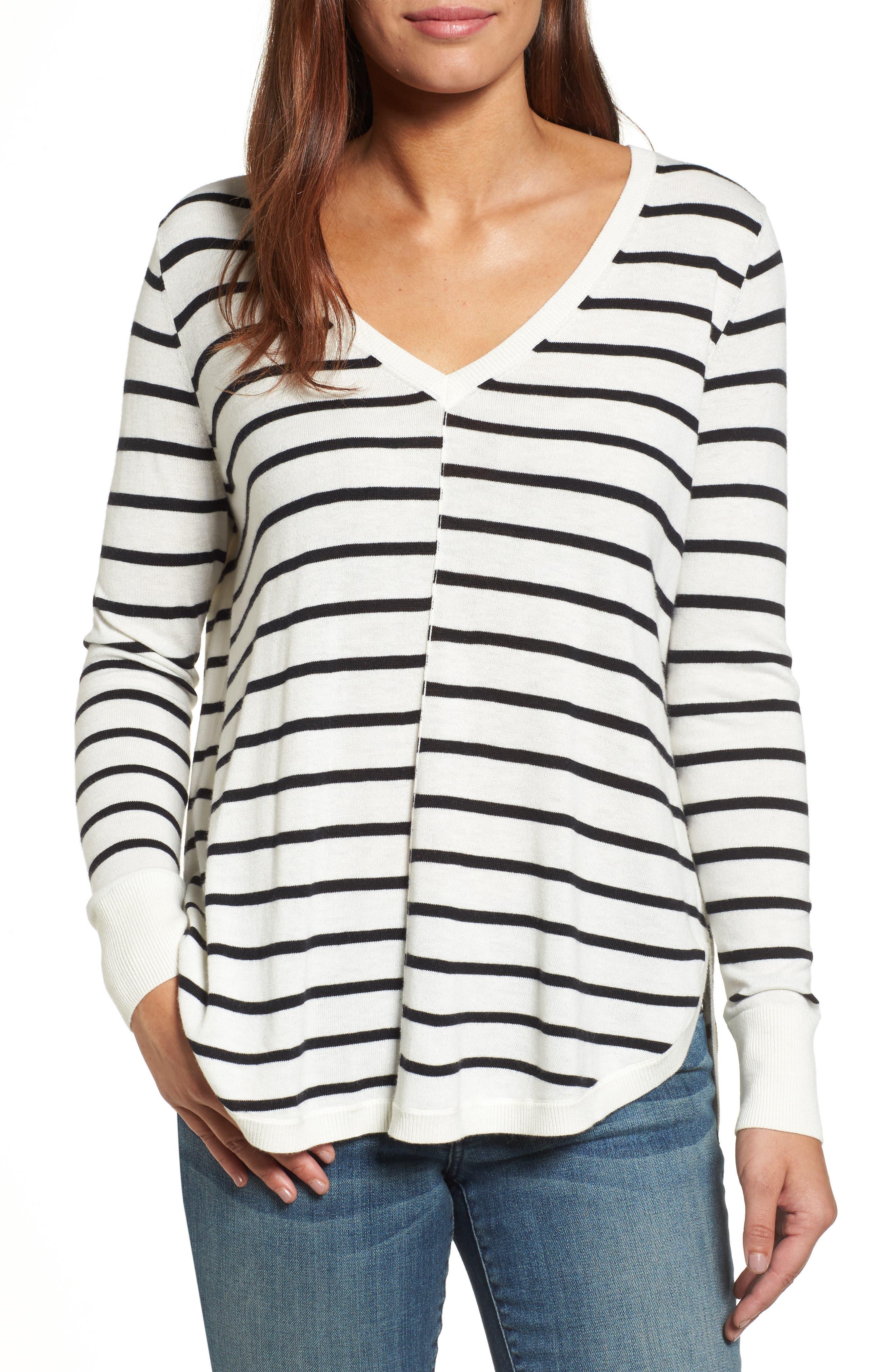 Petite Caslon High-Low V-Neck Sweater, Ivory