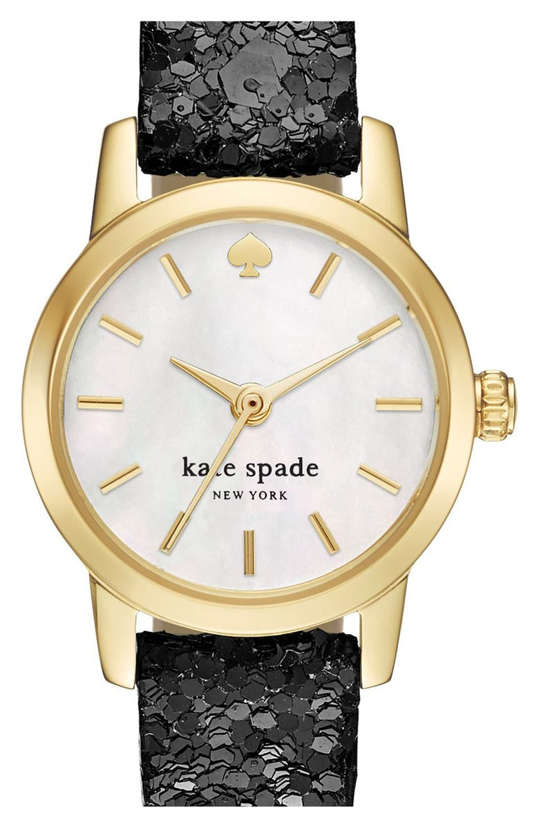 KATE SPADE NEW YORK 'tiny metro' embellished leather strap watch, 20mm, Main, color, 001