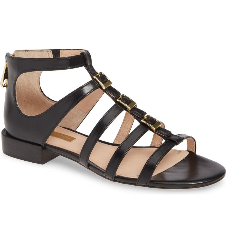 LOUISE ET CIE Arely Strappy Sandal, Main, color, BLACK LEATHER