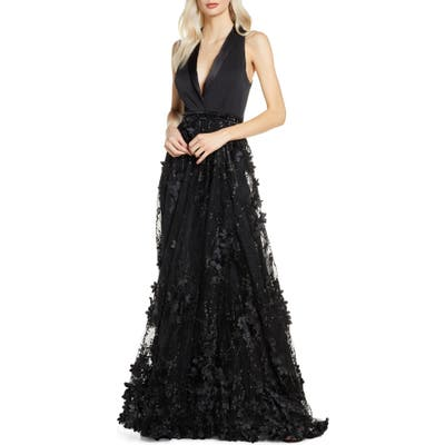 MAC Duggal Tuxedo Lapel Floral Embellished Gown, Black