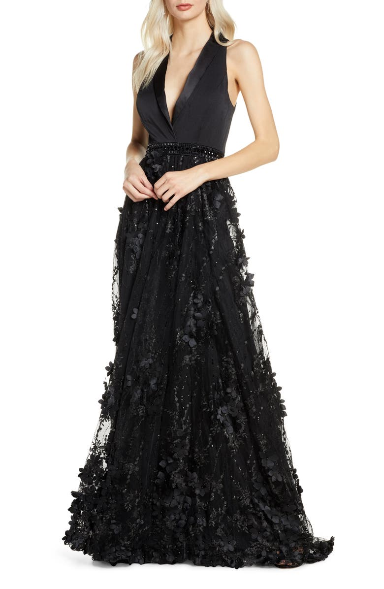 Tuxedo Lapel Floral Embellished Gown by Mac Duggal