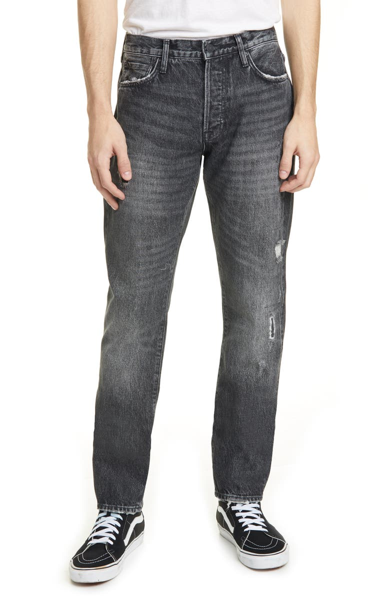 OVADIA Ripped Straight Coal Repair Jeans, Main, color, BLACK DESTROYED