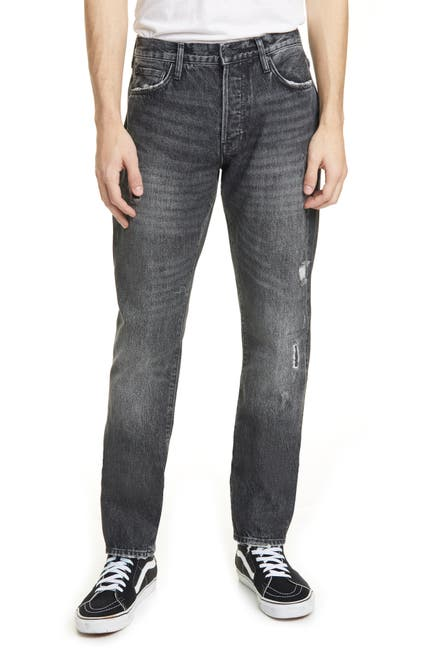 Image of OVADIA AND SONS Ripped Straight Coal Repair Jeans