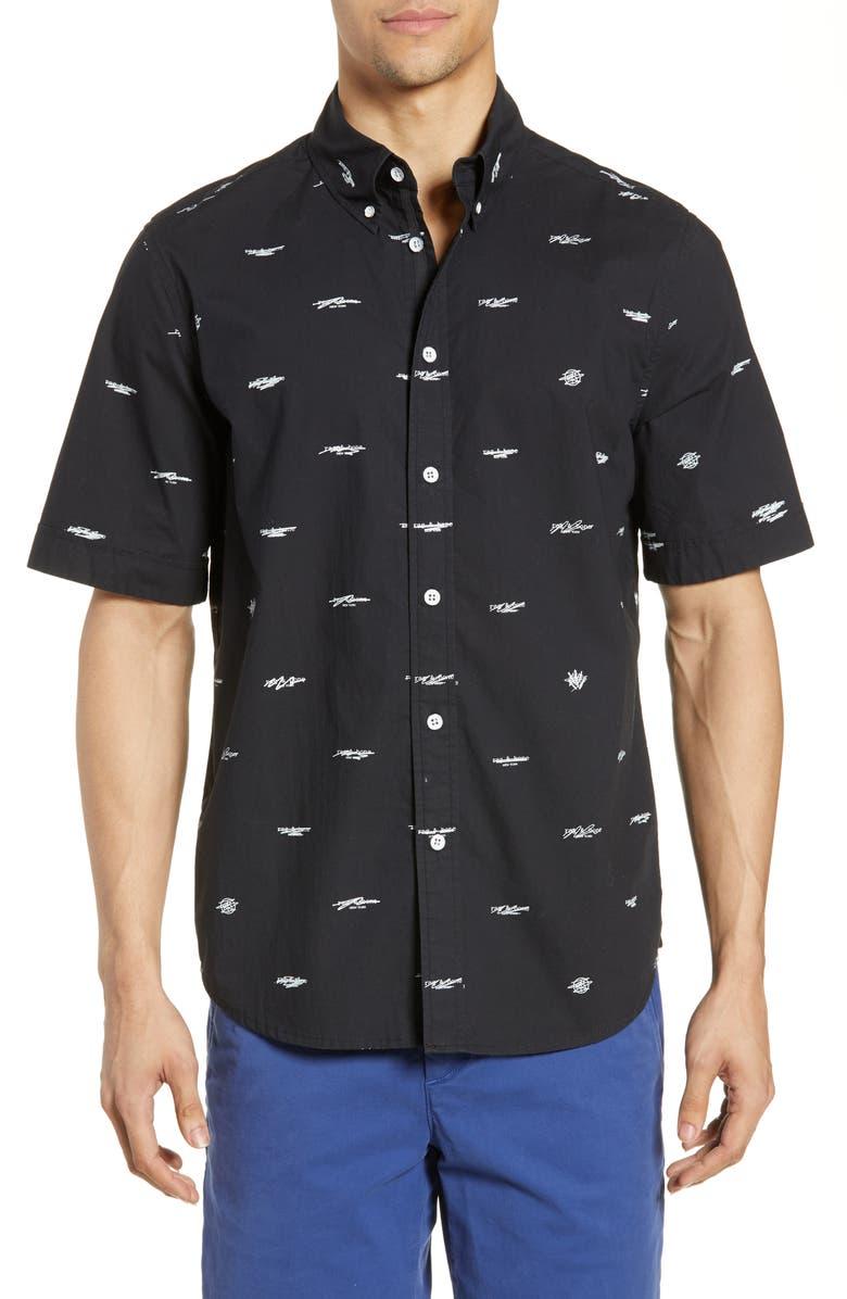 RAG & BONE Smith Logo Pattern Slim Fit Woven Shirt, Main, color, BLK