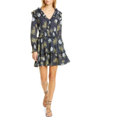 La Vie Rebecca Taylor Jasmine Floral Long Sleeve Cotton Gauze Dress, Blue