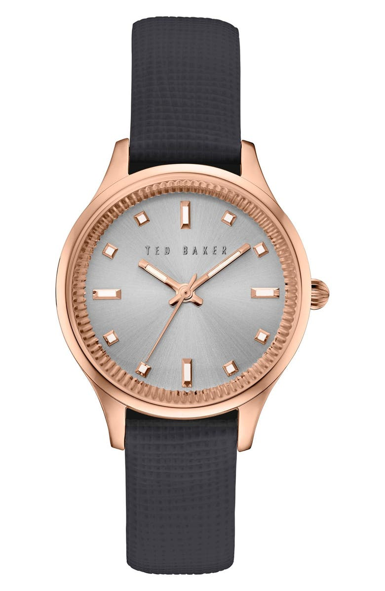TED BAKER LONDON 'Dress Sport' Multifunction Leather Strap Watch, 32mm, Main, color, 001