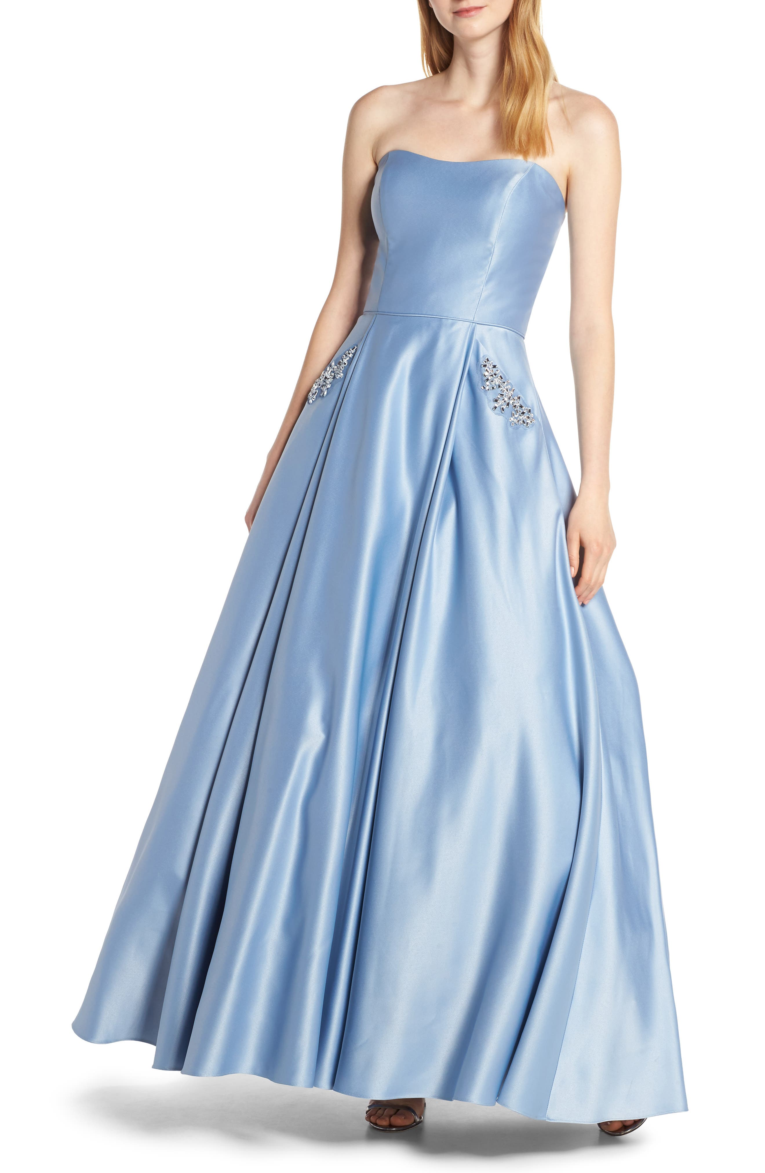 Blondie Nites Strapless Embellished Pocket Satin Evening Dress