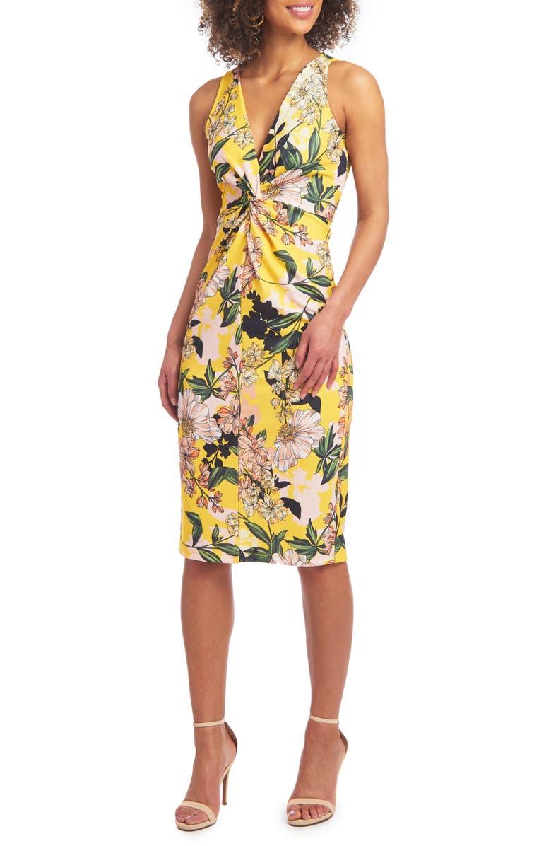 CHRISTIAN SIRIANO Twist Front Scuba Knit Sleeveless Sheath Dress, Main, color, 750