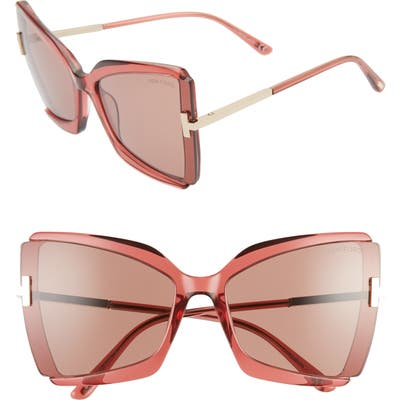 Tom Ford Gia 6m Oversize Butterfly Sunglasses - Shiny Pink/ Light Rose