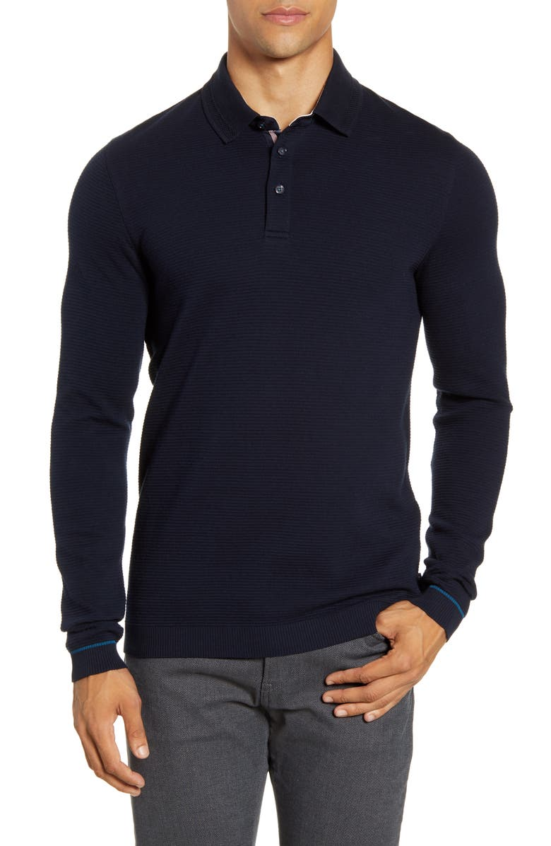 TED BAKER LONDON Terned Long Sleeve Knit Polo, Main, color, NAVY