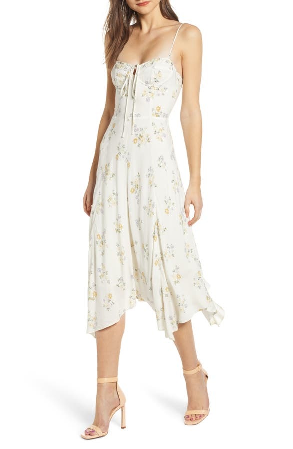 76b44015148f Wayf Hampshire Handkerchief Midi Dress In Ivory Ditsy Floral ...