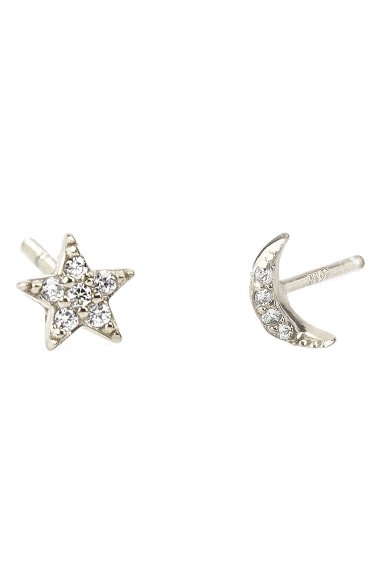 Pave Star & Moon Stud Earrings