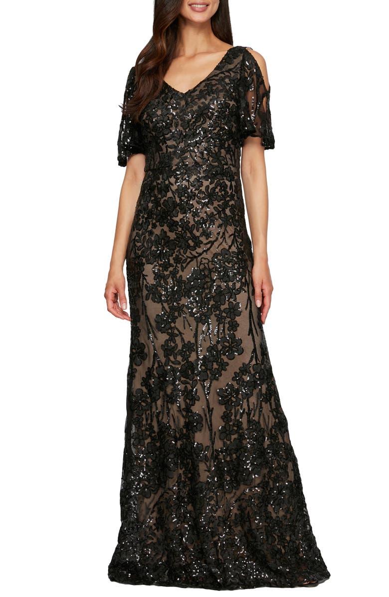 ALEX EVENINGS Sequin Lace Cold Shoulder Trumpet Gown, Main, color, 018