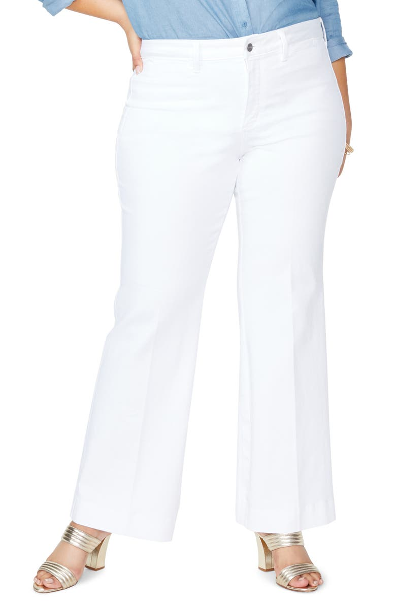NYDJ Teresa Sateen Trouser Pants, Main, color, OPTIC WHITE