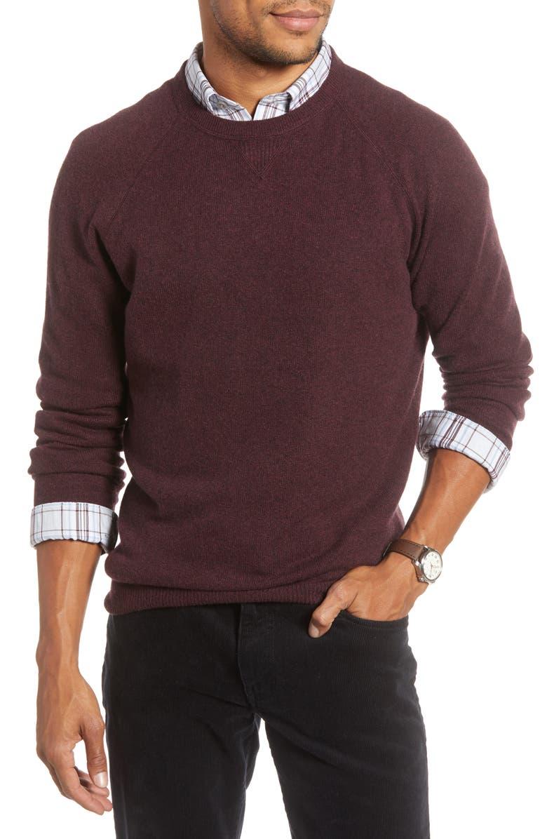 1901 Crewneck Cashmere Sweater, Main, color, BURGUNDY FUDGE HEATHER