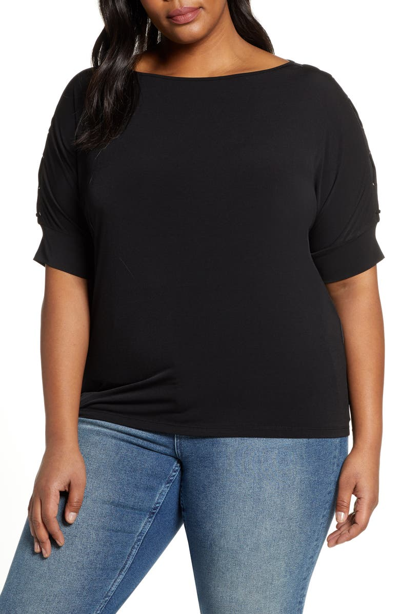 MICHAEL MICHAEL KORS Grommet Detail Top, Main, color, BLACK