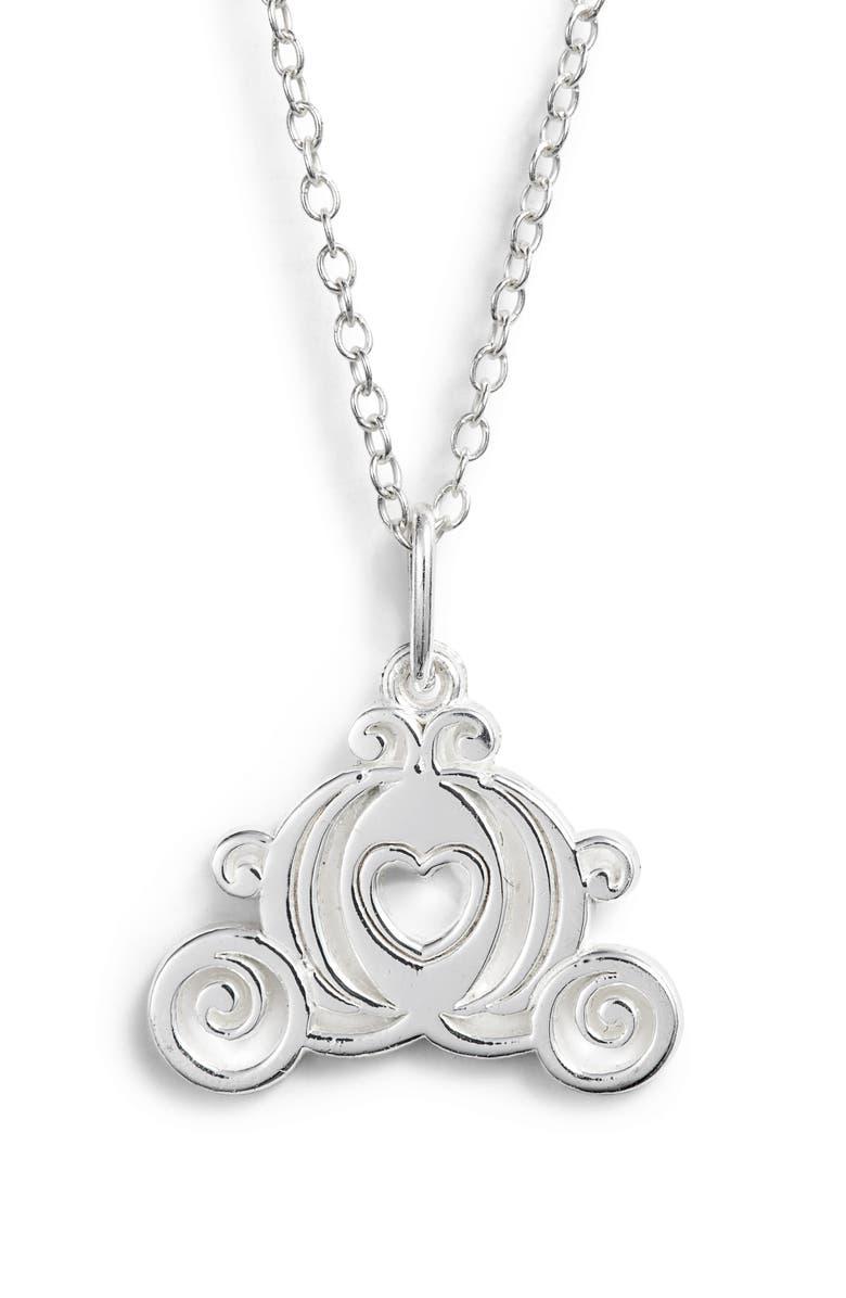 DISNEY Princess Cinderella Carriage Pendant Necklace, Main, color, SILVER