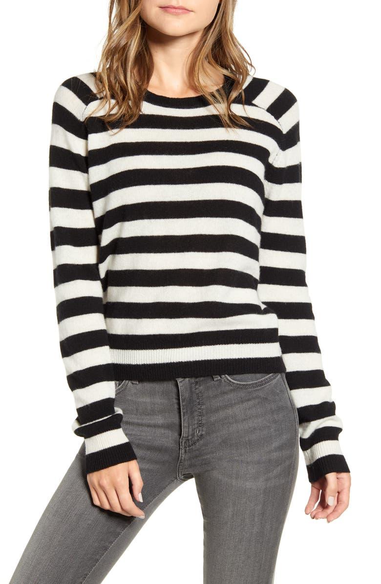 VELVET BY GRAHAM & SPENCER Stripe Cashmere Crewneck Sweater, Main, color, BLACK/ WHITE