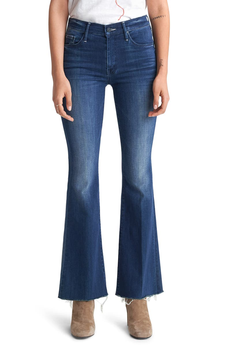 MOTHER Fray Hem Flare Jeans, Main, color, THE ROAD TO PARADISE